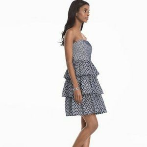 White House Black Market Eyelet Lace Ruffle Dress